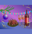 xmas concept - red wine bottle vector image