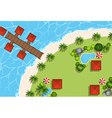 Aerial scene of huts and beach vector image