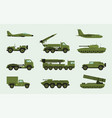 set of different military transport modern vector image