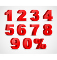 Set of color 3D figures and percent vector image