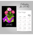 2016 calendar and gift box with pink roses vector image vector image
