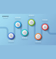 6 steps timeline chart infographic design vector image vector image