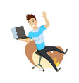 a man is talking by messenger by laptop sitting on vector image vector image