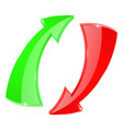 arrows circulation sign red and green vector image vector image