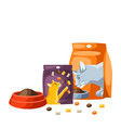 background with various cat items vector image vector image