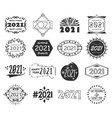 black year 2021 number design emblem icons set vector image