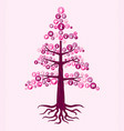 breast cancer awareness pink health icon tree art vector image