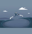 businessman jump over cliff gap mountain to vector image vector image