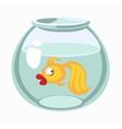 Cartoon golden fish in aquarium
