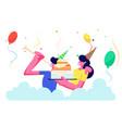 cheerful couple festive hats celebrating birthday vector image vector image