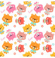 colorful teddy bear pattern vector image