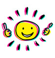 creative sun with two thumbs up vector image vector image