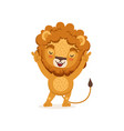 cute happy lion cartoon character standing with vector image vector image