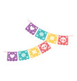 day dead mexican celebration pennants vector image vector image