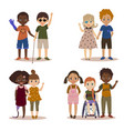 disabled children with friends vector image vector image