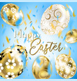 easter porceline and golden eggs in the sky vector image vector image