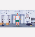 Fat obese man doing exercises with jumping rope
