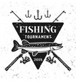 fishing tournament badge shield with pike vector image