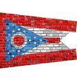 Flag of Ohio on a brick wall vector image vector image