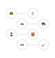 flat icons hill kerosene caravan and other vector image vector image