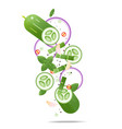 flying fresh cucumbers and spices concept vector image