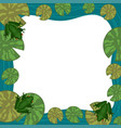 frog frame with lily pads empty place for text vector image