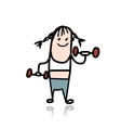 Girl with dumbbells doing exercises cartoon vector image