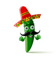 green chilli pepper character with sombrero hat vector image vector image