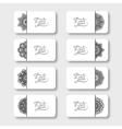 Grey set of ornamental floral business cards