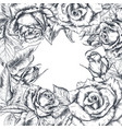 hand drawn rose flowers square frame vector image vector image