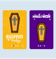 happy halloween invitation design with coffins vector image