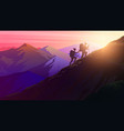 hiking uphill sunrise in mountains foggy vector image