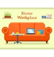 home workplace room with sofa vector image