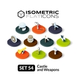 Isometric flat icons set 54 vector image