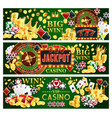 jackpot online casino banners with gambling items vector image