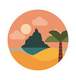 landscape nature tropical sea palm sunset mountain vector image vector image
