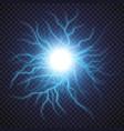 Lightning flash light thunder spark on transparent