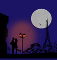 lovers in paris at night vector image vector image