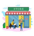 male customer with food product bag outside store vector image vector image