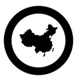 map of china icon black color in circle round vector image