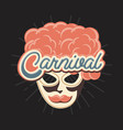 mask with wig mustache retro vintage carnival vector image