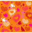 Orange texture with drawn splashes and hearts vector image vector image