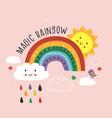 pink poster with magic rainbow cloud bird sun vector image vector image