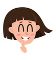 pretty dark brown hair woman laughing facial vector image vector image