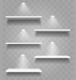 realistic shelves with shadows and spot lights set vector image vector image
