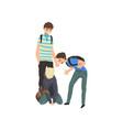 sad teen boy sitting on floor classmates mocking vector image vector image