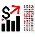 sales growth icon with 90 bonus pictograms vector image