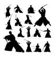 samurai martial art silhouettes vector image