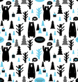 Seamless pattern with forest and bears background vector image