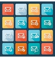 Set of sixteen mail icons for web vector image vector image